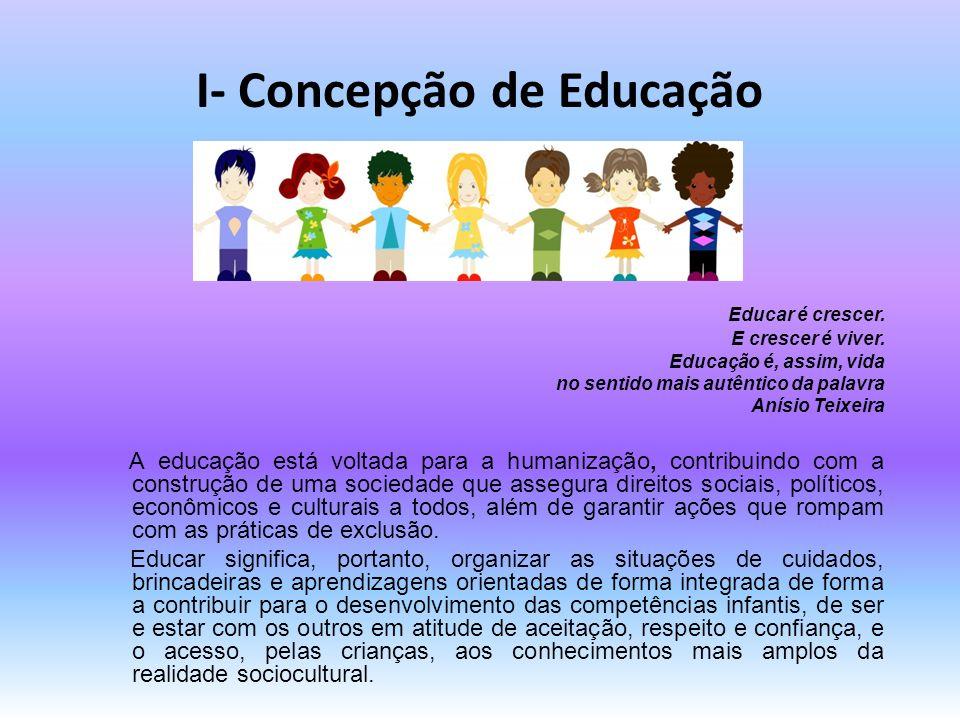 I- Concepção de Educação Educar é crescer. E crescer é viver. Educação é, assim, vida no sentido mais autêntico da palavra Anísio Teixeira A educação