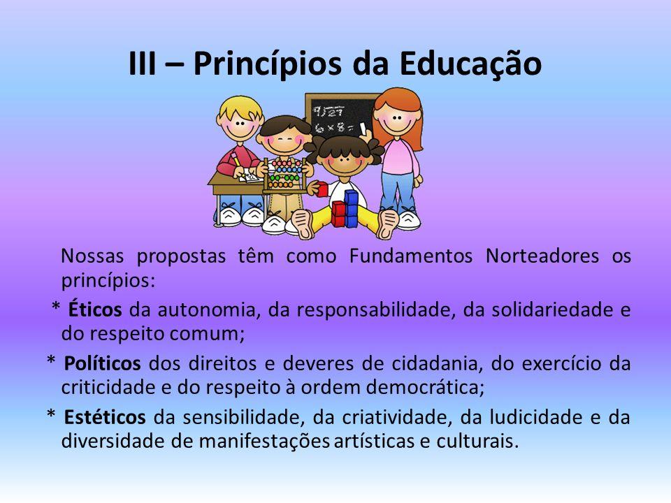 III – Princípios da Educação Nossas propostas têm como Fundamentos Norteadores os princípios: * Éticos da autonomia, da responsabilidade, da solidarie