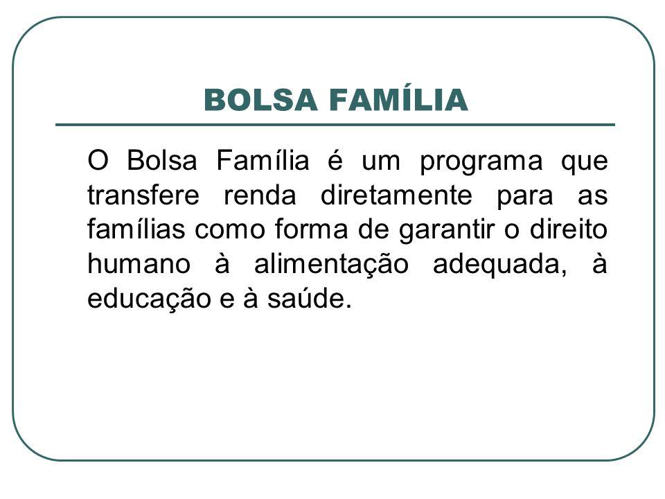 BOLSA FAMÍLIA O Bolsa Família é um programa que transfere renda diretamente para as famílias como forma de garantir o direito humano à alimentação ade