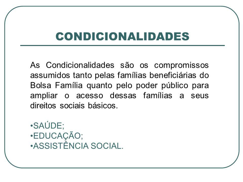 CONDICIONALIDADES As Condicionalidades são os compromissos assumidos tanto pelas famílias beneficiárias do Bolsa Família quanto pelo poder público par