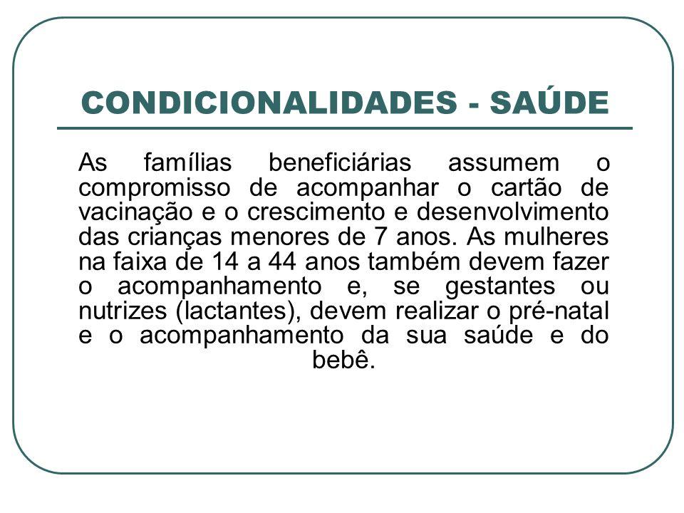CONDICIONALIDADES - SAÚDE As famílias beneficiárias assumem o compromisso de acompanhar o cartão de vacinação e o crescimento e desenvolvimento das cr