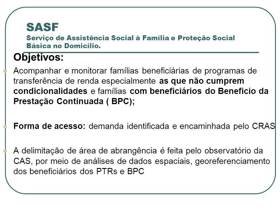 SASF Serviço de Assistência Social à Família e Proteção Social Básica no Domicílio. Objetivos: Acompanhar e monitorar famílias beneficiárias de progra