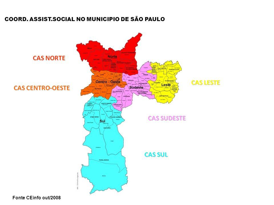 CAS LESTE CAS SUDESTE CAS SUL CAS CENTRO-OESTE CAS NORTE Fonte CEinfo out/2008 COORD. ASSIST.SOCIAL NO MUNICIPIO DE SÃO PAULO