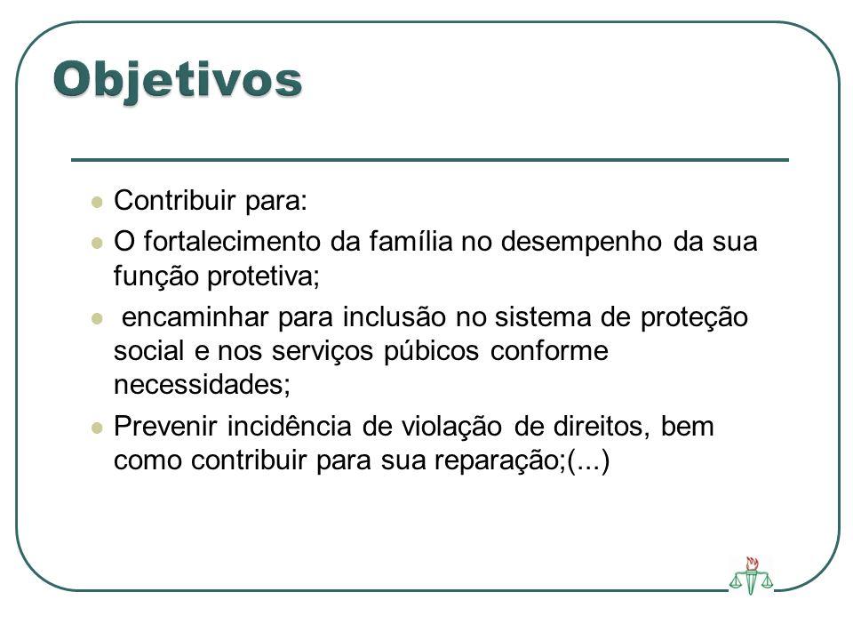 Contribuir para: O fortalecimento da família no desempenho da sua função protetiva; encaminhar para inclusão no sistema de proteção social e nos servi