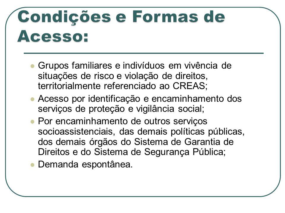 Grupos familiares e indivíduos em vivência de situações de risco e violação de direitos, territorialmente referenciado ao CREAS; Acesso por identifica