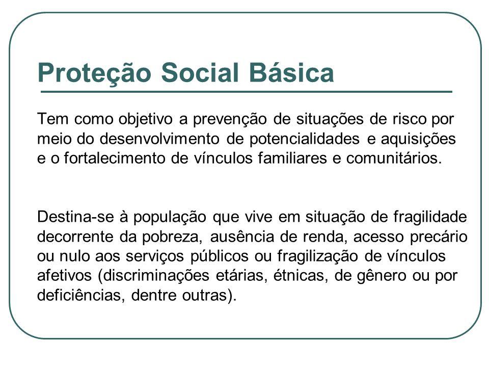 Proteção Social Básica Tem como objetivo a prevenção de situações de risco por meio do desenvolvimento de potencialidades e aquisições e o fortalecime