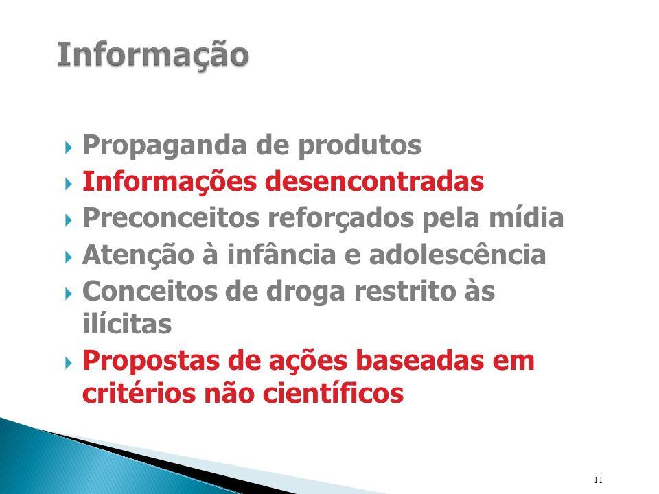 Propaganda de produtos Informações desencontradas Preconceitos reforçados pela mídia Atenção à infância e adolescência Conceitos de droga restrito às