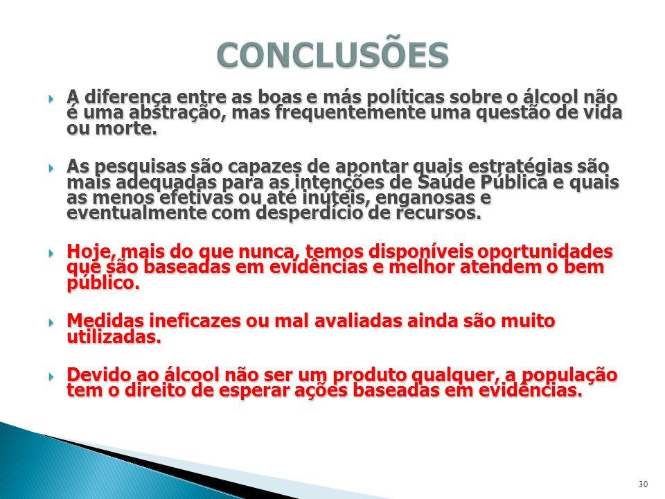 A diferença entre as boas e más políticas sobre o álcool não é uma abstração, mas frequentemente uma questão de vida ou morte. A diferença entre as bo