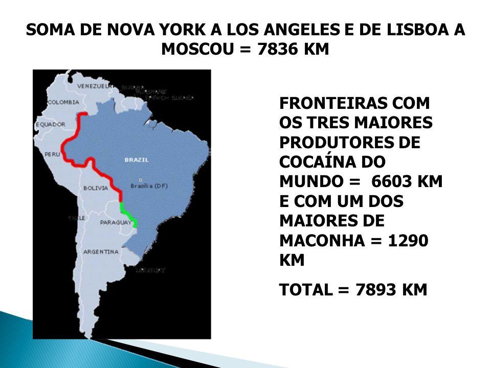 FRONTEIRAS COM OS TRES MAIORES PRODUTORES DE COCAÍNA DO MUNDO = 6603 KM E COM UM DOS MAIORES DE MACONHA = 1290 KM TOTAL = 7893 KM SOMA DE NOVA YORK A