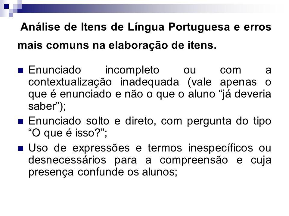 Análise de Itens de Língua Portuguesa e erros mais comuns na elaboração de itens. Enunciado incompleto ou com a contextualização inadequada (vale apen