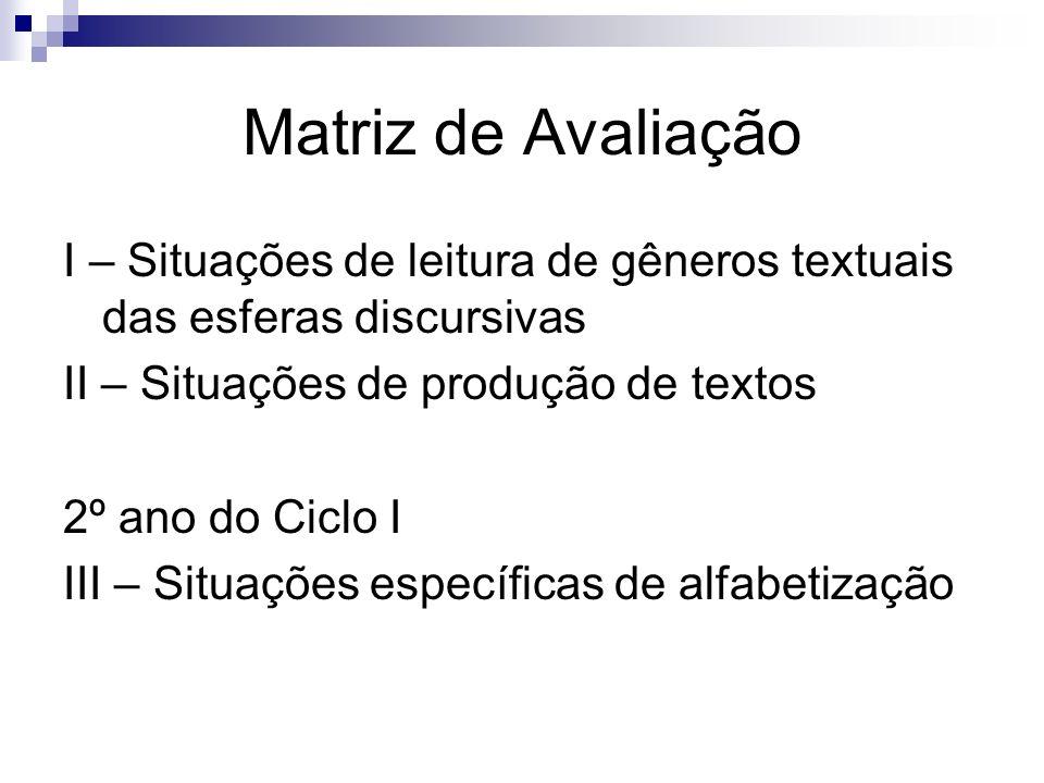 Matriz de Avaliação I – Situações de leitura de gêneros textuais das esferas discursivas II – Situações de produção de textos 2º ano do Ciclo I III –