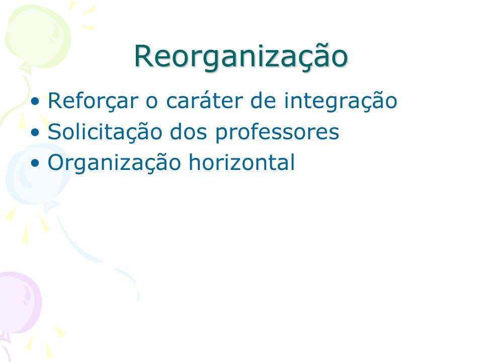 Reorganização Reforçar o caráter de integração Solicitação dos professores Organização horizontal