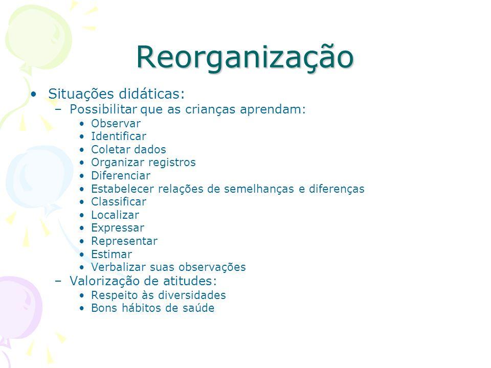 Reorganização Situações didáticas: –Possibilitar que as crianças aprendam: Observar Identificar Coletar dados Organizar registros Diferenciar Estabele