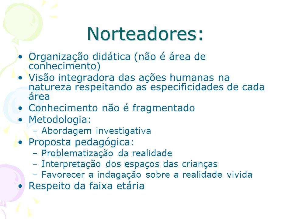 Norteadores: Organização didática (não é área de conhecimento) Visão integradora das ações humanas na natureza respeitando as especificidades de cada