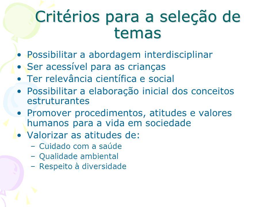 Critérios para a seleção de temas Possibilitar a abordagem interdisciplinar Ser acessível para as crianças Ter relevância científica e social Possibil