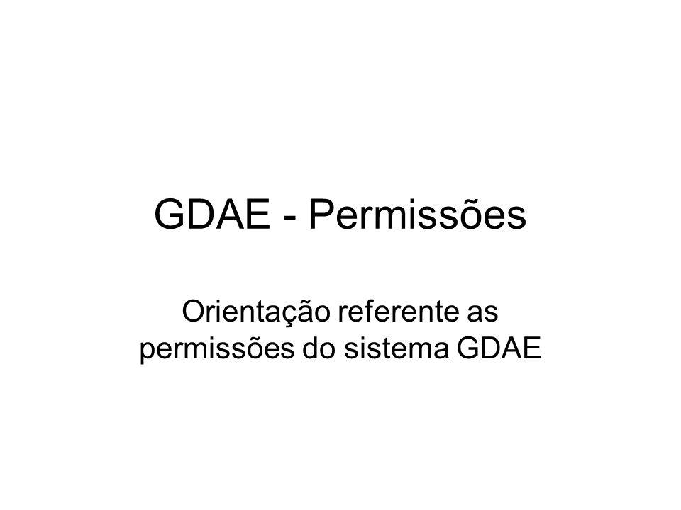 GDAE - Permissões Orientação referente as permissões do sistema GDAE