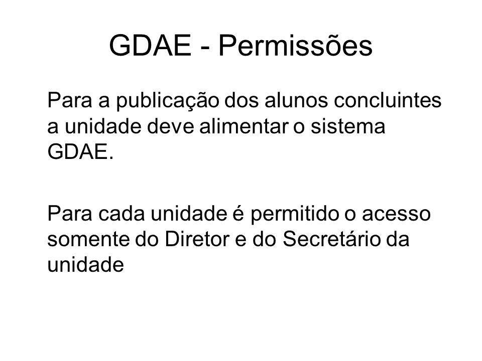 GDAE - Permissões Para a publicação dos alunos concluintes a unidade deve alimentar o sistema GDAE. Para cada unidade é permitido o acesso somente do