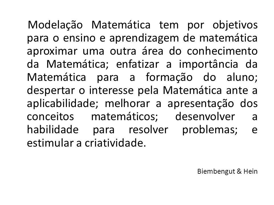 Modelação Matemática tem por objetivos para o ensino e aprendizagem de matemática aproximar uma outra área do conhecimento da Matemática; enfatizar a
