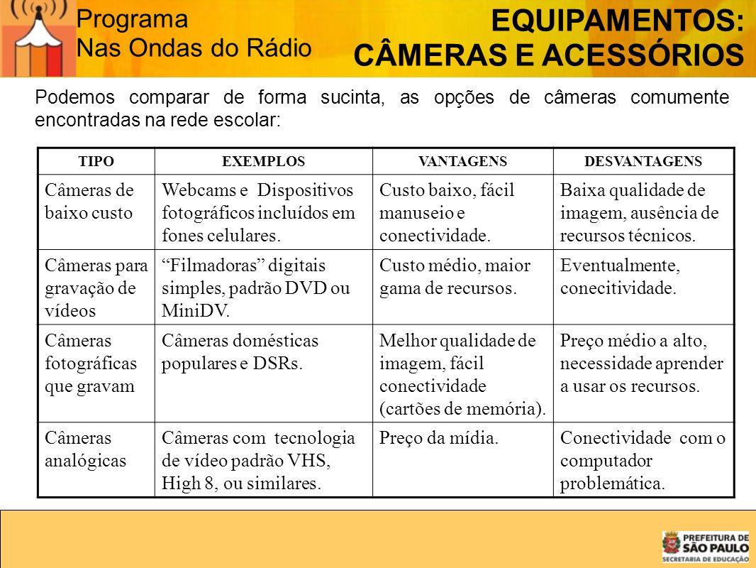 Programa Nas Ondas do Rádio Podemos comparar de forma sucinta, as opções de câmeras comumente encontradas na rede escolar: TIPOEXEMPLOSVANTAGENSDESVAN