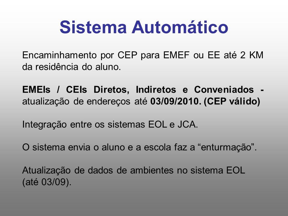 Sistema Automático Encaminhamento por CEP para EMEF ou EE até 2 KM da residência do aluno. EMEIs / CEIs Diretos, Indiretos e Conveniados - atualização