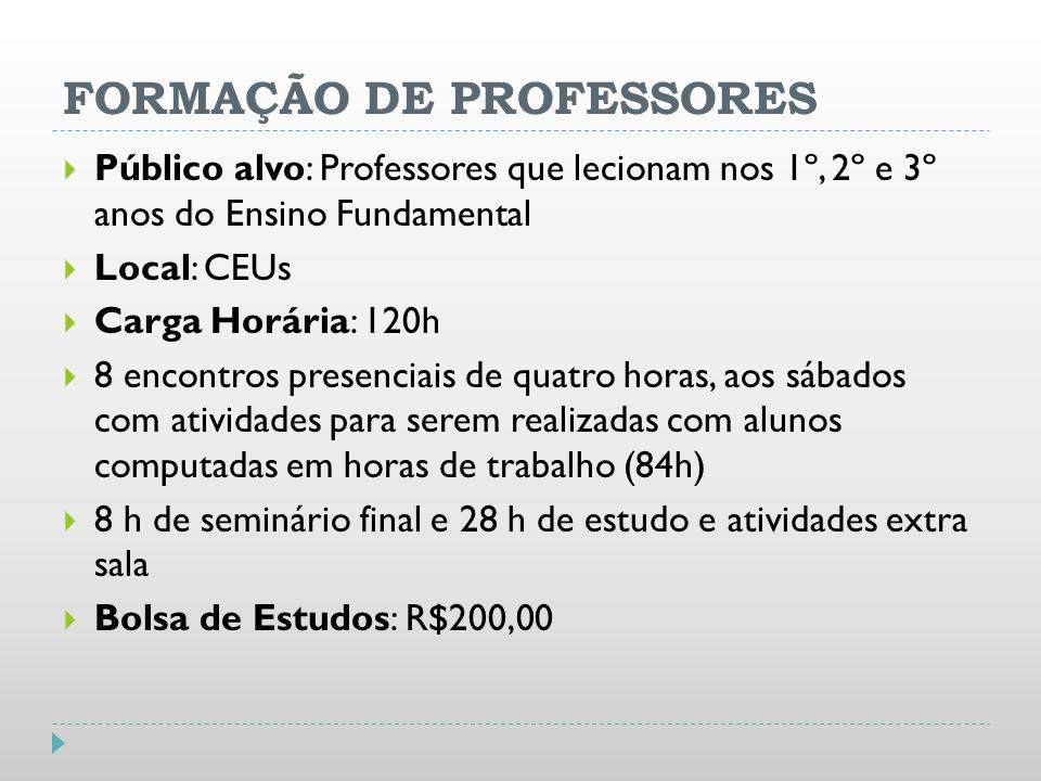 FORMAÇÃO DE PROFESSORES Público alvo: Professores que lecionam nos 1º, 2º e 3º anos do Ensino Fundamental Local: CEUs Carga Horária: 120h 8 encontros