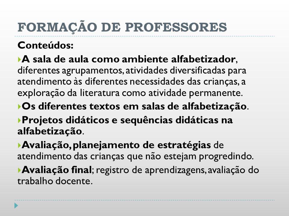 FORMAÇÃO DE PROFESSORES Conteúdos: A sala de aula como ambiente alfabetizador, diferentes agrupamentos, atividades diversificadas para atendimento às