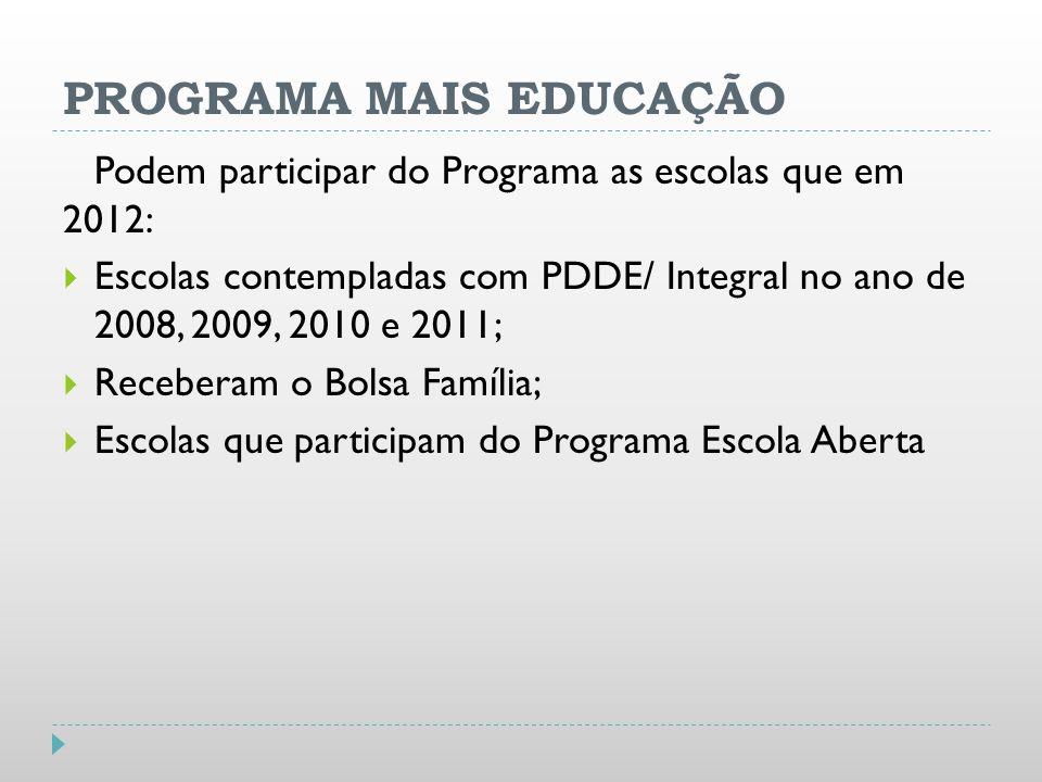 PROGRAMA MAIS EDUCAÇÃO Podem participar do Programa as escolas que em 2012: Escolas contempladas com PDDE/ Integral no ano de 2008, 2009, 2010 e 2011;