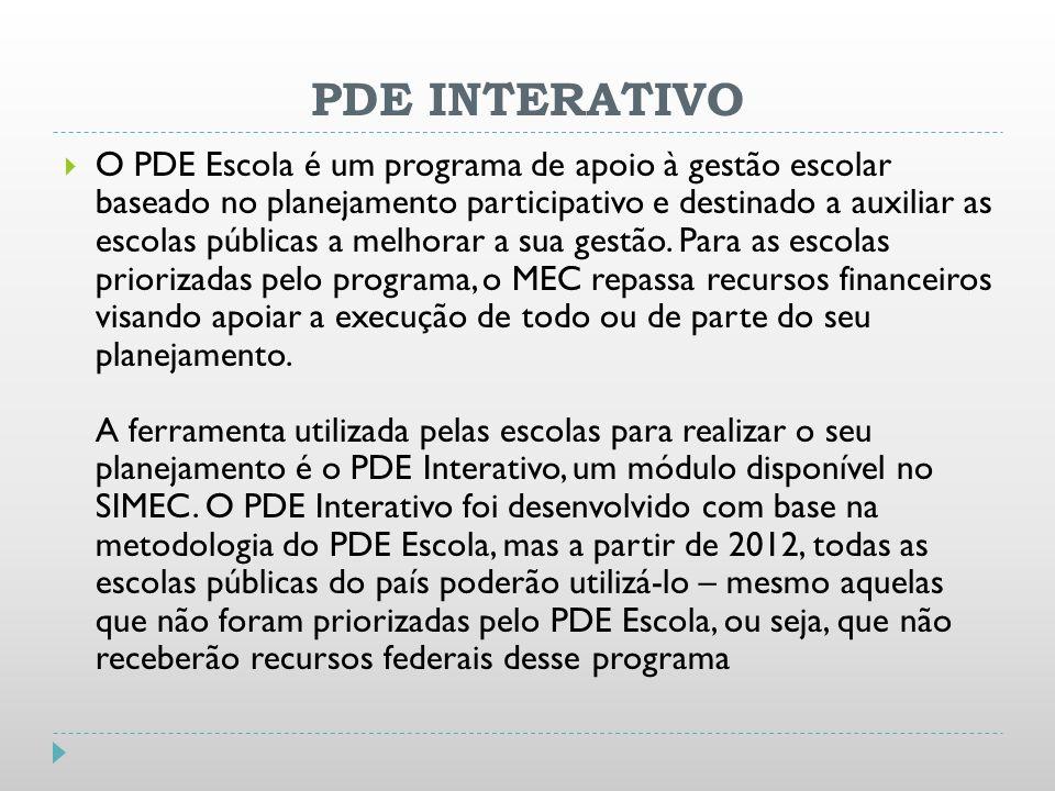PDE INTERATIVO O PDE Escola é um programa de apoio à gestão escolar baseado no planejamento participativo e destinado a auxiliar as escolas públicas a