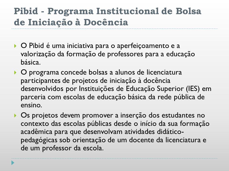 Pibid - Programa Institucional de Bolsa de Iniciação à Docência O Pibid é uma iniciativa para o aperfeiçoamento e a valorização da formação de profess