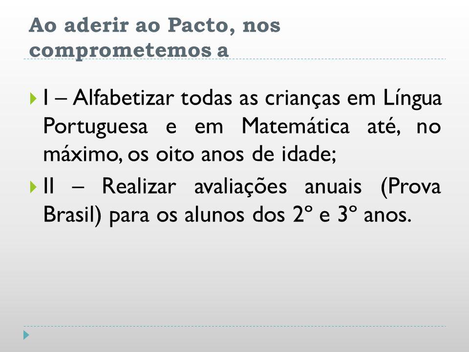 Ao aderir ao Pacto, nos comprometemos a I – Alfabetizar todas as crianças em Língua Portuguesa e em Matemática até, no máximo, os oito anos de idade;