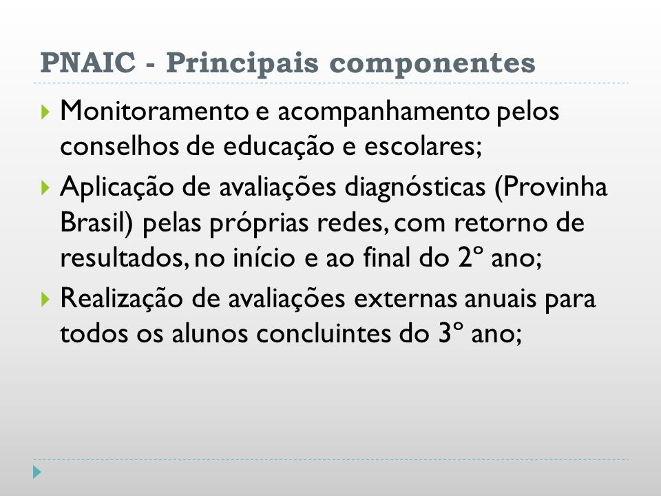 PNAIC - Principais componentes Monitoramento e acompanhamento pelos conselhos de educação e escolares; Aplicação de avaliações diagnósticas (Provinha