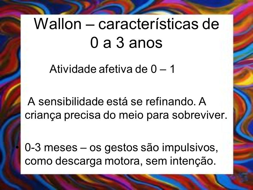 Wallon – características de 0 a 3 anos Atividade afetiva de 0 – 1 A sensibilidade está se refinando. A criança precisa do meio para sobreviver. 0-3 me