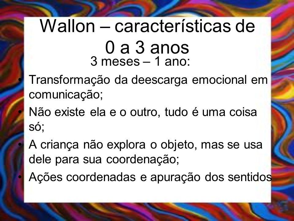 Wallon – características de 0 a 3 anos 3 meses – 1 ano: Transformação da deescarga emocional em comunicação; Não existe ela e o outro, tudo é uma cois