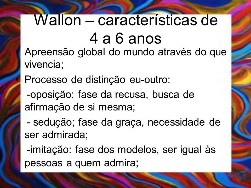 Wallon – características de 4 a 6 anos Apreensão global do mundo através do que vivencia; Processo de distinção eu-outro: -oposição: fase da recusa, b