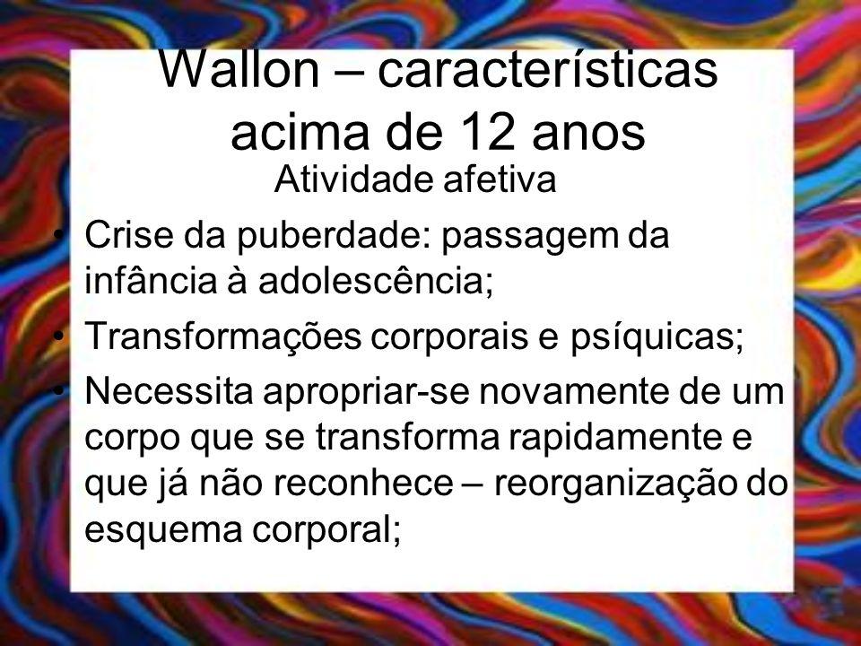 Wallon – características acima de 12 anos Atividade afetiva Crise da puberdade: passagem da infância à adolescência; Transformações corporais e psíqui