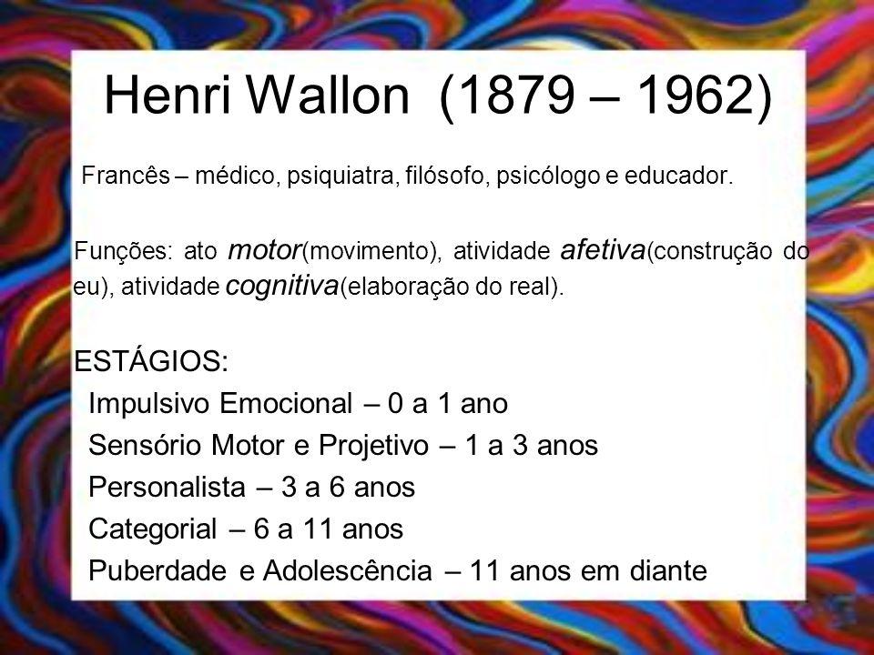 Henri Wallon (1879 – 1962) Francês – médico, psiquiatra, filósofo, psicólogo e educador. Funções: ato motor (movimento), atividade afetiva (construção