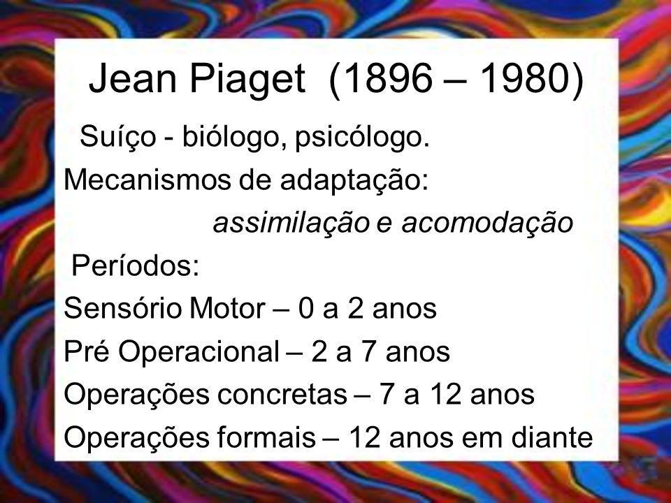 Jean Piaget (1896 – 1980) Suíço - biólogo, psicólogo. Mecanismos de adaptação: assimilação e acomodação Períodos: Sensório Motor – 0 a 2 anos Pré Oper