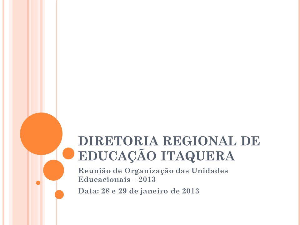 DIRETORIA REGIONAL DE EDUCAÇÃO ITAQUERA Reunião de Organização das Unidades Educacionais – 2013 Data: 28 e 29 de janeiro de 2013