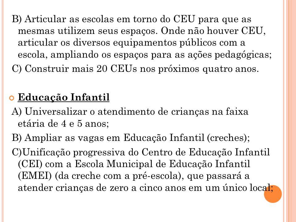 B) Articular as escolas em torno do CEU para que as mesmas utilizem seus espaços. Onde não houver CEU, articular os diversos equipamentos públicos com