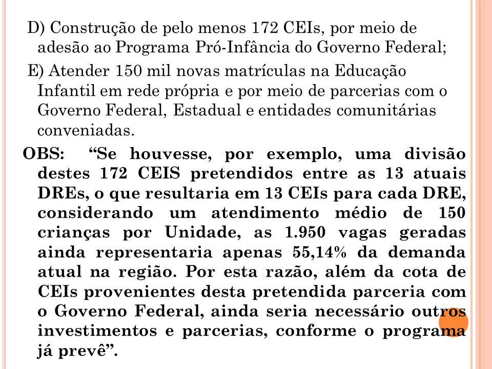 D) Construção de pelo menos 172 CEIs, por meio de adesão ao Programa Pró-Infância do Governo Federal; E) Atender 150 mil novas matrículas na Educação