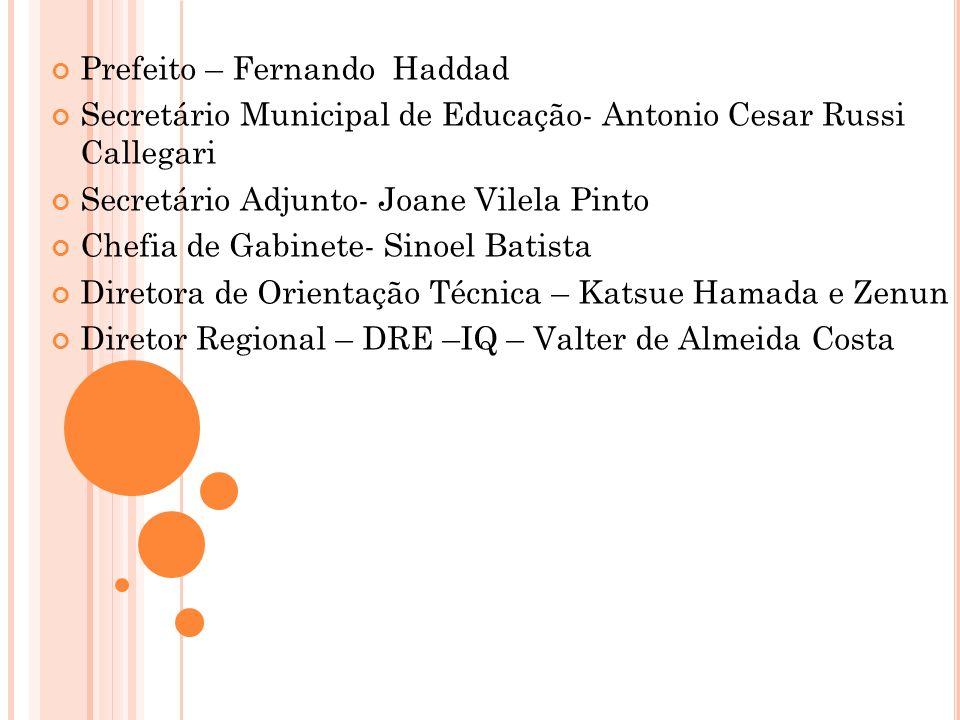 Prefeito – Fernando Haddad Secretário Municipal de Educação- Antonio Cesar Russi Callegari Secretário Adjunto- Joane Vilela Pinto Chefia de Gabinete-