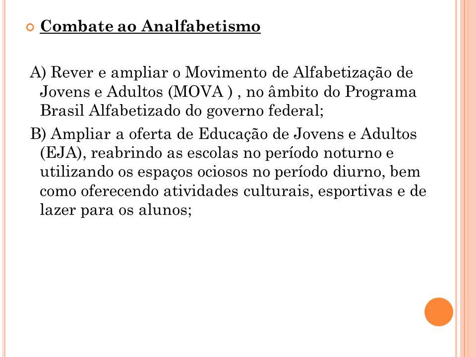 Combate ao Analfabetismo A) Rever e ampliar o Movimento de Alfabetização de Jovens e Adultos (MOVA ), no âmbito do Programa Brasil Alfabetizado do gov