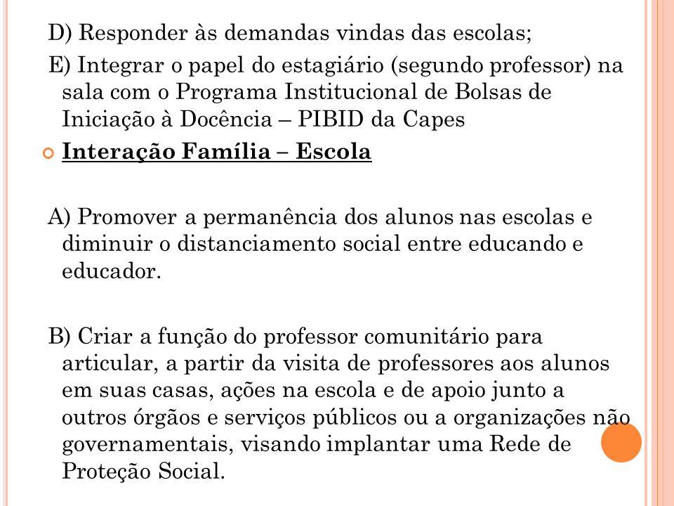 D) Responder às demandas vindas das escolas; E) Integrar o papel do estagiário (segundo professor) na sala com o Programa Institucional de Bolsas de I