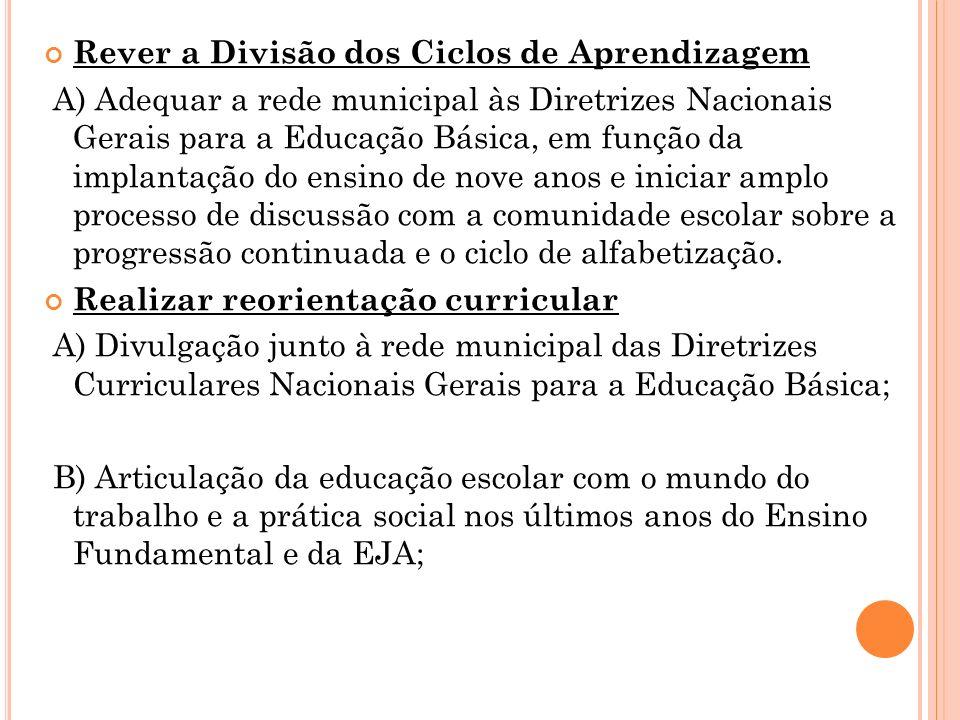 Rever a Divisão dos Ciclos de Aprendizagem A) Adequar a rede municipal às Diretrizes Nacionais Gerais para a Educação Básica, em função da implantação