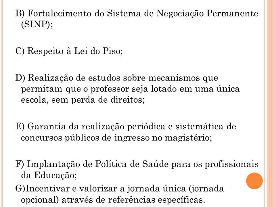 B) Fortalecimento do Sistema de Negociação Permanente (SINP); C) Respeito à Lei do Piso; D) Realização de estudos sobre mecanismos que permitam que o