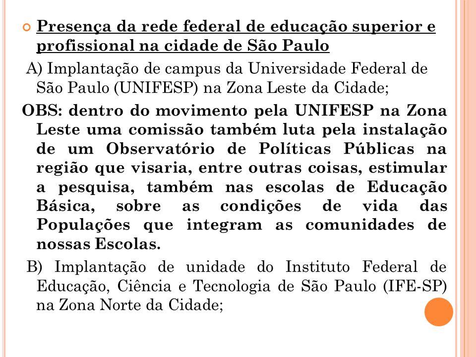 Presença da rede federal de educação superior e profissional na cidade de São Paulo A) Implantação de campus da Universidade Federal de São Paulo (UNI
