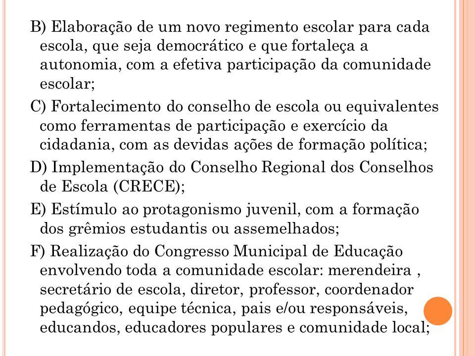 B) Elaboração de um novo regimento escolar para cada escola, que seja democrático e que fortaleça a autonomia, com a efetiva participação da comunidad