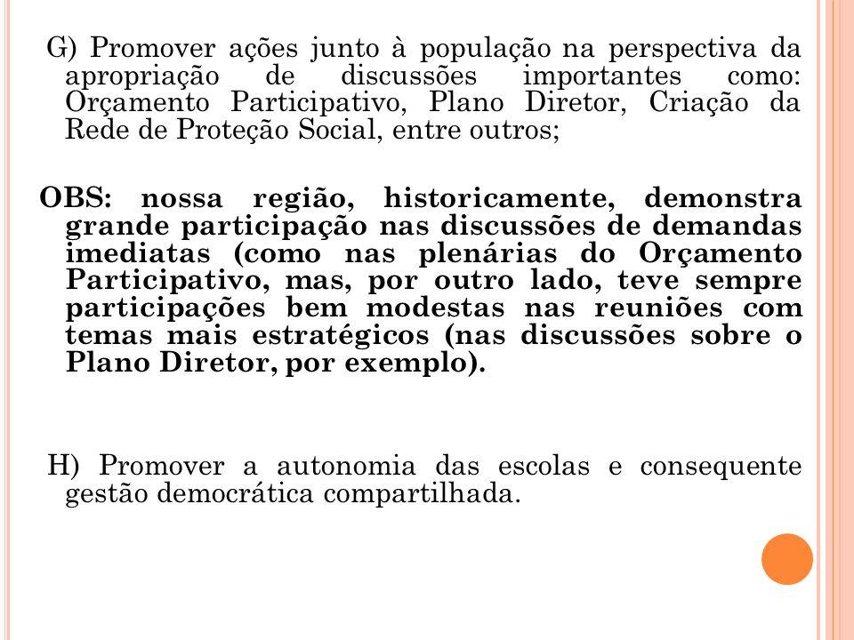 G) Promover ações junto à população na perspectiva da apropriação de discussões importantes como: Orçamento Participativo, Plano Diretor, Criação da R
