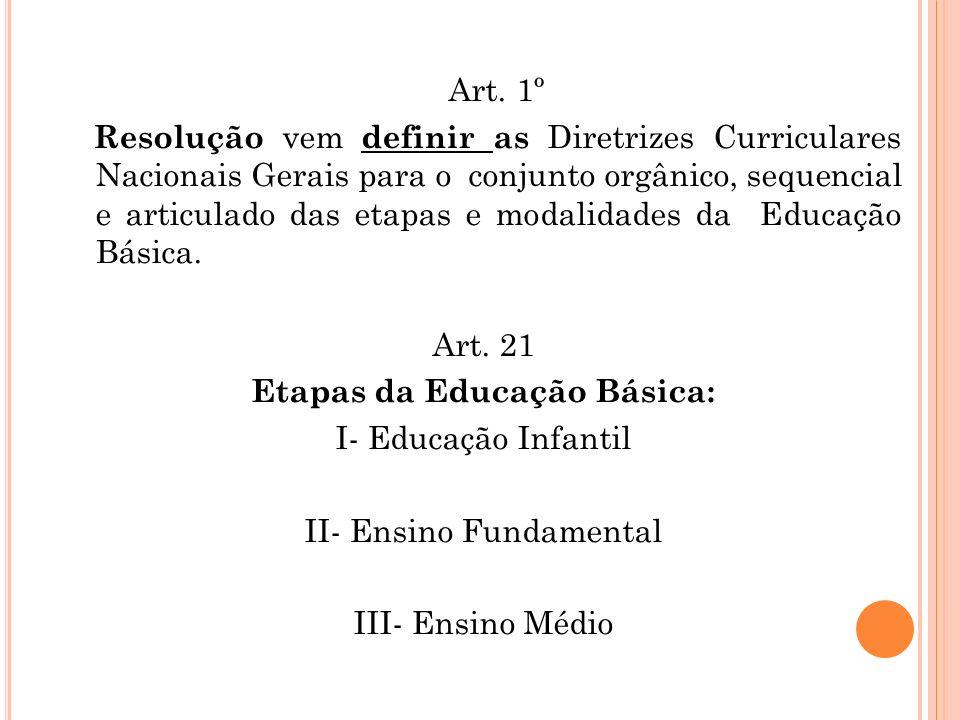 Art. 1º Resolução vem definir as Diretrizes Curriculares Nacionais Gerais para o conjunto orgânico, sequencial e articulado das etapas e modalidades d