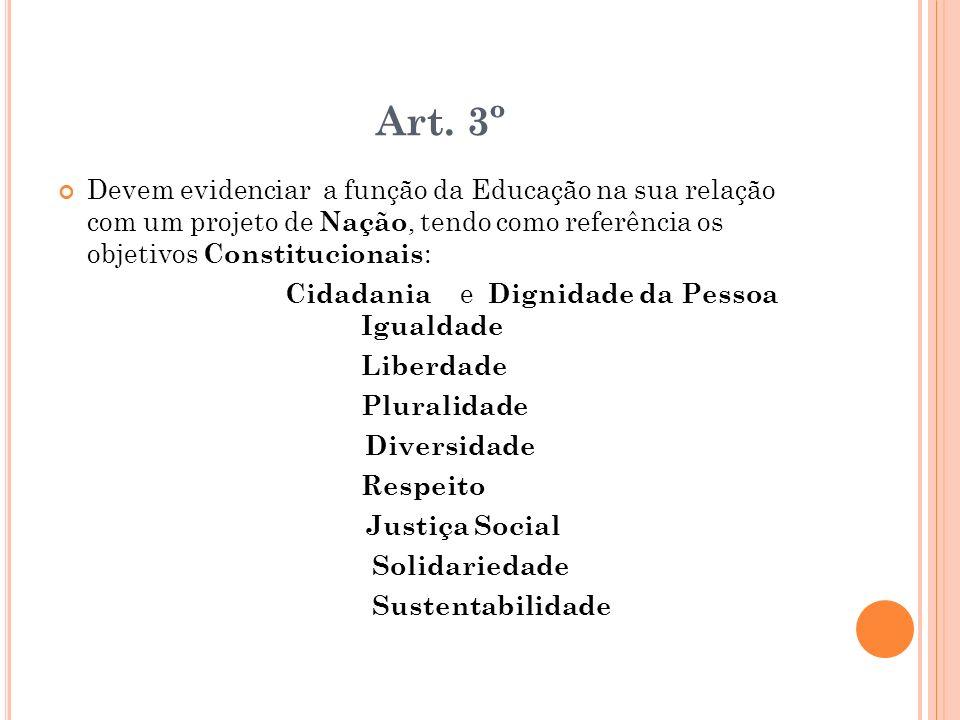 Art. 3º Devem evidenciar a função da Educação na sua relação com um projeto de Nação, tendo como referência os objetivos Constitucionais : Cidadania e